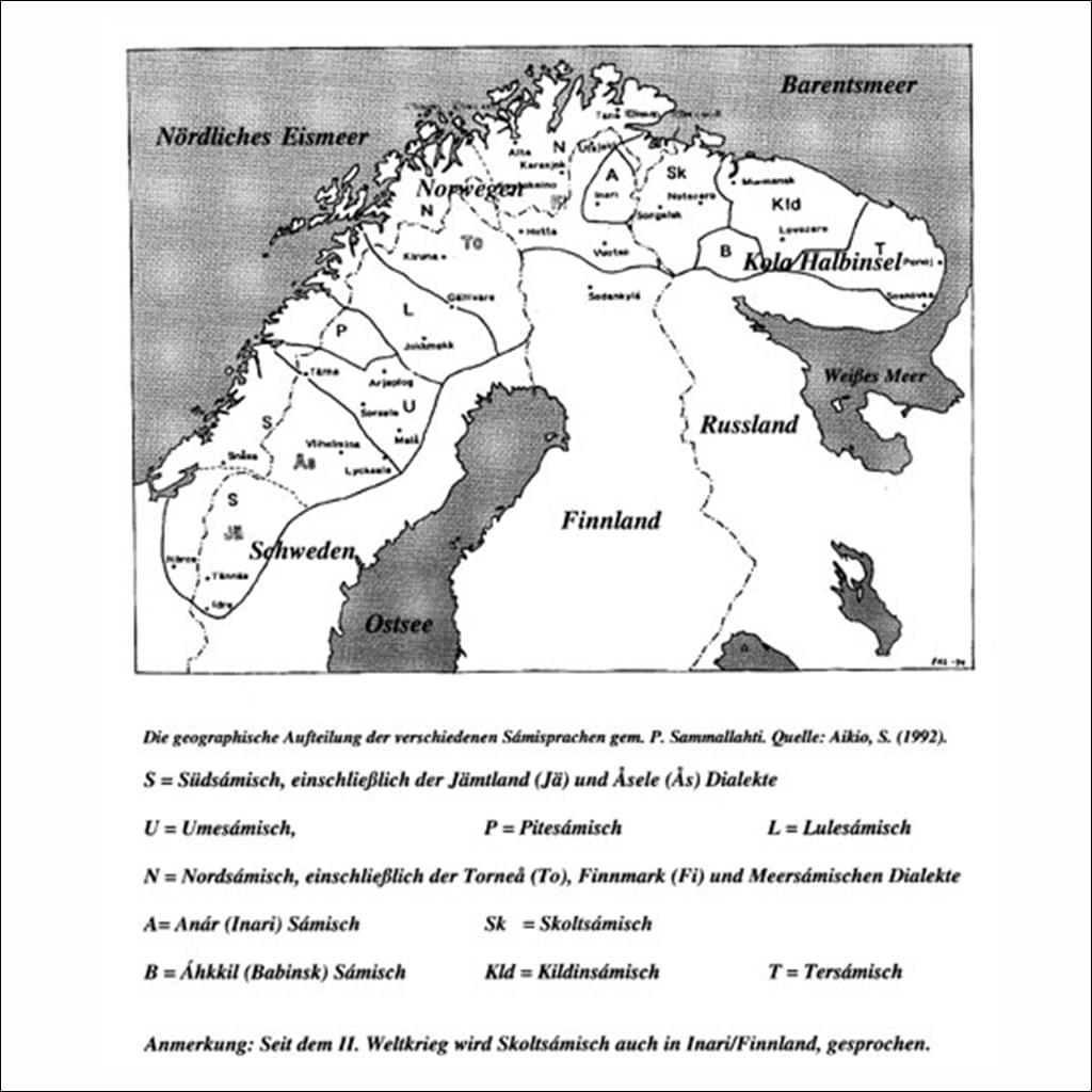 Karte der verschiedenen Sámi-Sprachen